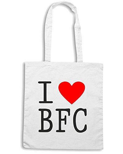 T-Shirtshock - Bolsa para la compra WC0404 I Love BFC Blanco