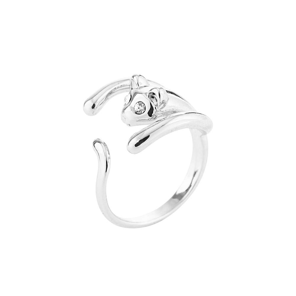 26745ef23 Lethez Open Rings for Couple Charm Animal Head with Rhinestone Wedding  Engagement Party Ring (Silver, Adjustable)|Amazon.com