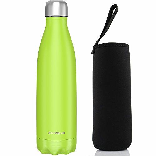 EXTSUD 500ml Botella Exterior de Agua al Vacio Termo de Acero Inoxidable Botella, Verde