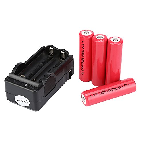 - 18650 Charger and Charger - 4-Pack 3.7V 6800mAH Li-ion Rechargeable 18650 Battery for Flashlight Torch & 1-Pack Battery Charger 2 Slot - Portable Charger Rechargeable Batteries