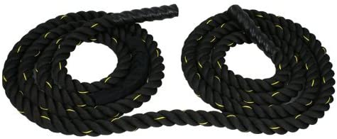ZENY Black 1.5 2 Width Poly Dacron 30 40 50ft Length Battle Rope Workout Training Undulation Rope Fitness Rope Exercise 2 W x 50 L