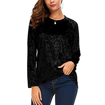 Women's Vintage Velvet T-Shirt Casual Long Sleeve Top at Women's Clothing store