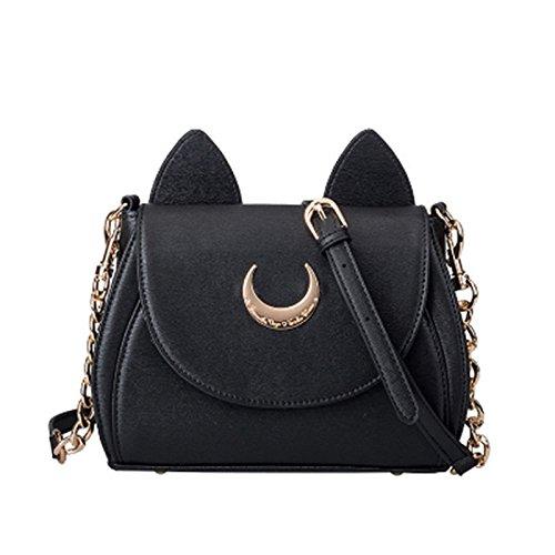 Nikgic 1 pcs Sailor Moon chaîne sac à bandoulière dames chat PU sac à main en cuir femmes Messenger Crossbody mignon sac