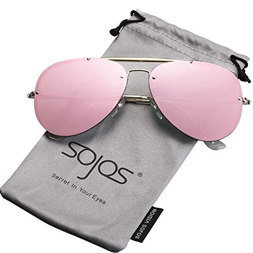 (SOJOS Rimless Aviator Sunglasses for Men and Women Metal Frame Mirrored Lens TRENDALERT SJ1105 with Gold Frame/Pink Mirrored Lens)