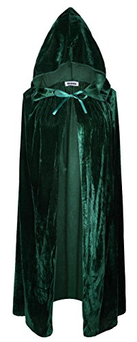 VGLOOK Kids Hooded Cloak Cape for Christmas Halloween Cosplay Costumes (L Ages 8 to16,Green) -