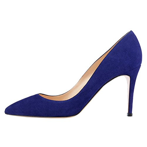 - June in Love Women's Middle Heels Shoes Pointy Toe for Daily Usual Girls Lady Pumps Suede Blue 9 US