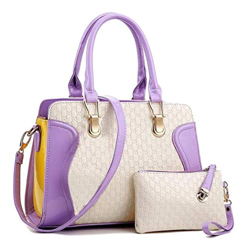 - Beautiful Leather Purple & White Top Handle Bag For Women Womens Satchel Shoulder Bag