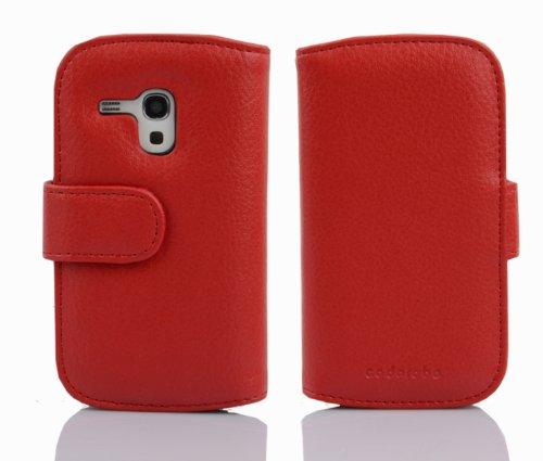 Cadorabo - Funda Samsung Galaxy S3 MINI (I8190) Book Style de Cuero Sintético en Diseño Libro - Etui Case Cover Carcasa Caja Protección con Tarjetero en BURDEOS-VIOLETA rojo