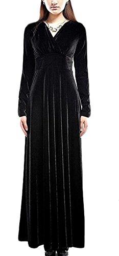 Fordbox Womens Gold Velvet Dress V-Neck Maxi Dress BlackX-Small