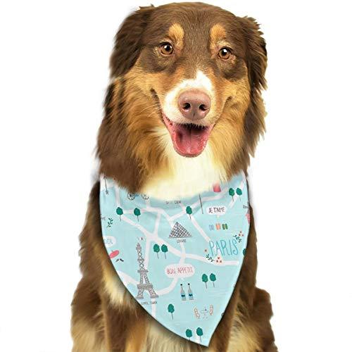 Pet Scarf Dog Bandana Bibs Triangle Head Scarfs Eiffel Tower Accessories for Cats Baby Puppy ()