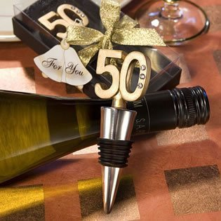 50th Anniversary or Birthday Wine Bottle Stopper Anniversary Favor, -