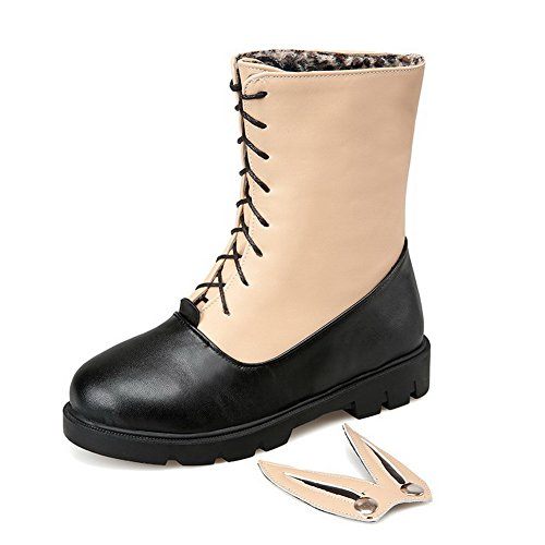 Closed Pu Round Toe Apricot Solid up Low Boots Women's Lace Heels AgooLar 0wFqZXa8x