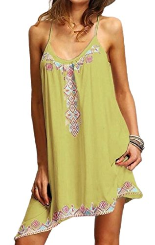 Summer s Print Wear Floral Sleeveless Tribal Women Sundress Yellow Beach Jaycargogo Mini OE7xpp