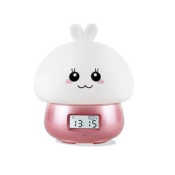 HXMSXROMID Despertador Despertador Luz Colores Noche De Cabecera Luz De Noche Reloj Digital Grabación con Pantalla LED Recargable con Control Remoto USB ...