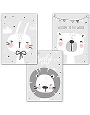 frechdax® 3er Set Kinderzimmer Poster Babyzimmer Bilder DIN A4 ohne Bilderrahmen | Mädchen Junge | Kinderposter Kunstdruck