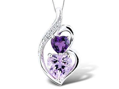 - Amethyst Necklace with Diamond Accent in Sterling Silver