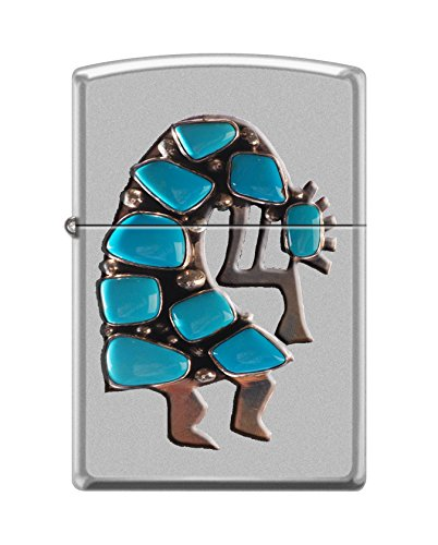 (Zippo Custom Design Kokopelli Native American Reg Satin Chrome Windproof Collectible Lighter. Made in USA Limited Edition & Rare)
