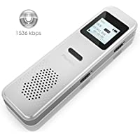 Digital Voice Recorder,Valoin Portable 8GB 1536 Kbps Rechargeable Dictaphone Voice Activated Recorder with MP3 Player for Lecture Meeting Interview and More