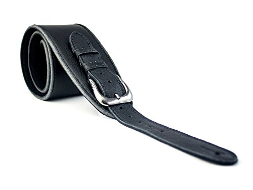 UK Made Black Vintage Extra Wide Soft Real Leather Guitar Strap with Buckle Adjustable Length (Length Buckle)