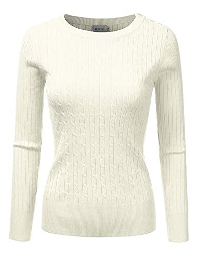 DRESSIS Womens Long Sleeve Round Neck Buttoned Shoulder Cable Knit Sweater Ivory