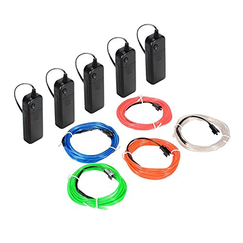 LUNSY El Wire, El Wire Kit Battery Operated For Party Indoor Outdoor Decoration - 5 Pack by LUNSY (Image #1)