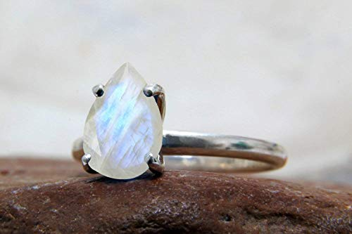 - Fashionable Rainbow Moonstone Stack Ring By Anemone Unique - Birthstone 925 Sterling Silver Teardrop Ring - Purposely Made For Special Occasions & Casual Use - With All Sizes & Engraving