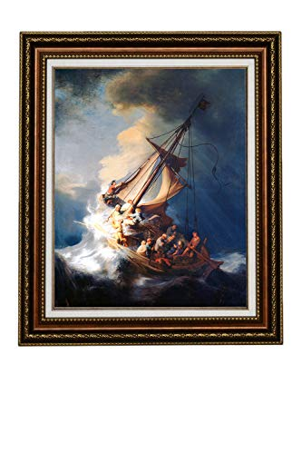 (Eliteart-Christ in a Storm on The Sea of Galilee by The Dutch Golden Age Painter Rembrandt Van Rijn Oil Painting Reproduction Giclee Wall Art Canvas Prints-Framed )