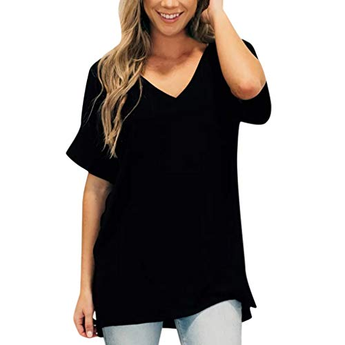 Sanyyanlsy Women Casual Solid Color V-Neck Short Sleeve Loose Tee T-Shirt Tank Tops Ladies Summer Daily Blouse Vest Black]()