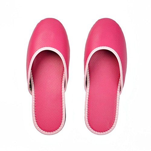 Women Slides Red PU Home Slippers AODEW Toe Rose Shoes House Leather Flat Close For wzgqtzO