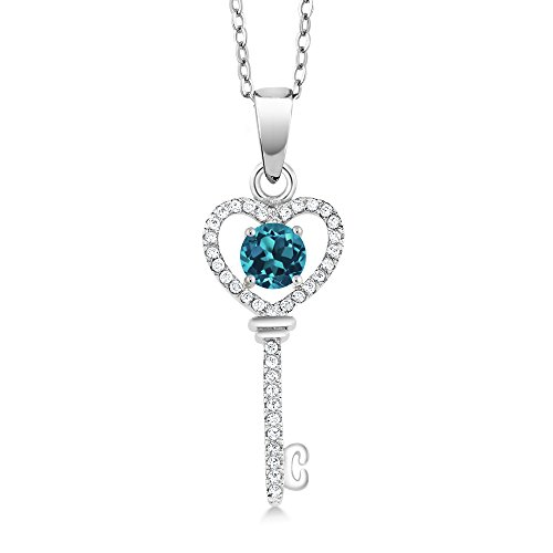 Gem Stone King 0.99 Ct Round London Blue Topaz 925 Sterling Silver Key Pendant with 18 Inch Silver Chain