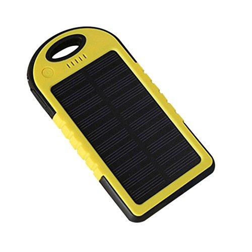 Livoty 8000mAh Portable Waterproof Solar Charger Dual USB External Battery Power Bank (Yellow)