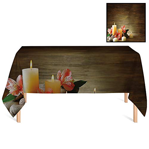 - SATVSHOP Water Resistant Tablecloth /55x120 Rectangular,Spa Spa Composition with Many Candles Wellbeing Unity and Neutrality Icons Calm Happiness Home for Wedding/Banquet/Restaurant.