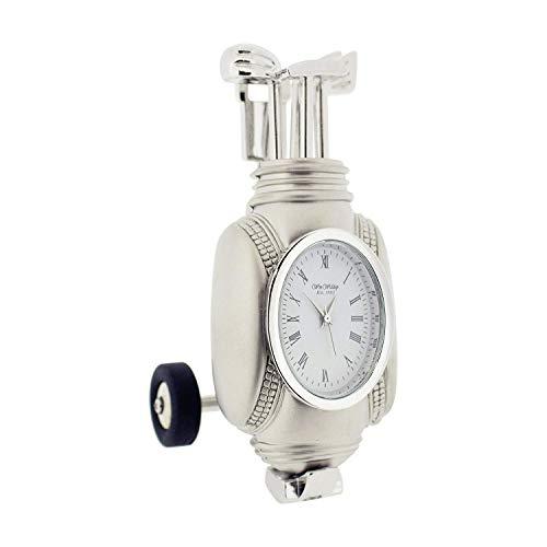 (Miniature Clock Silvertone Mini Golf Bag On Wheels Novelty Collectors Clock 9875)