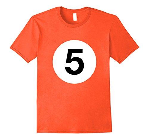 Mens Billiard Ball Matching Shirt No. 5 Pool Player Costume Idea 3XL Orange -
