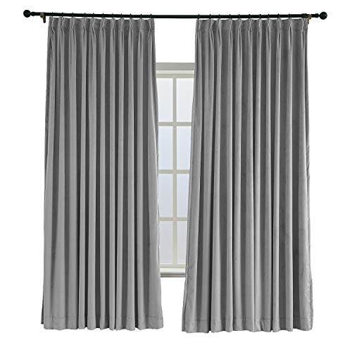Measure Blackout Lined Drapery - ChadMade Pinch Pleated 72W x 96L Blackout Lined Velvet Curtain Drapery Panel for Traverse Rod or Track, Living Room Bedroom Meetingroom Club Theater Patio Door (1 Panel), Gray