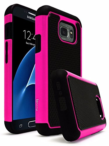 Galaxy S7 Active Case, Bastex Hybrid Slim Fit Rugged Heavy Duty Black Rubber Silicone Cover Hard Plastic Hot Pink & Black Protective Shock Case for Samsung Galaxy S7 Active G891A