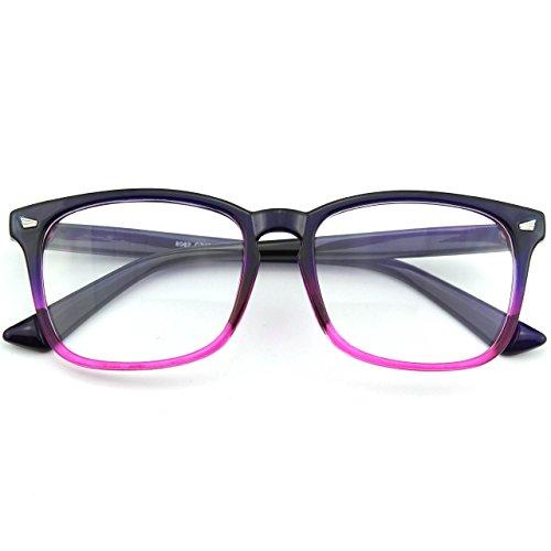 surdimensionné Purple cadre PE2 transparentes corne GQUEEN Grand clair lunettes qPx6EZwT
