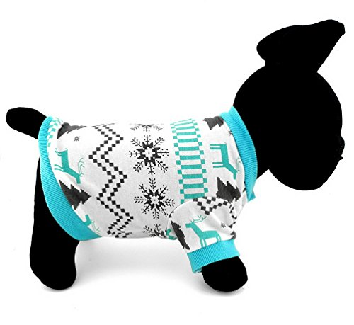 SELMAI Pet Clothes for Puppy Cat Small Dog 100% Cotton Reindeer Print Shirt T-shirt Xmas Style Blue (Reindeer Chihuahua Costume)