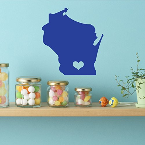 (Wisconsin Decal - State Vinyl Wall Decor, 30th State - Madison, Badger State, WSU)