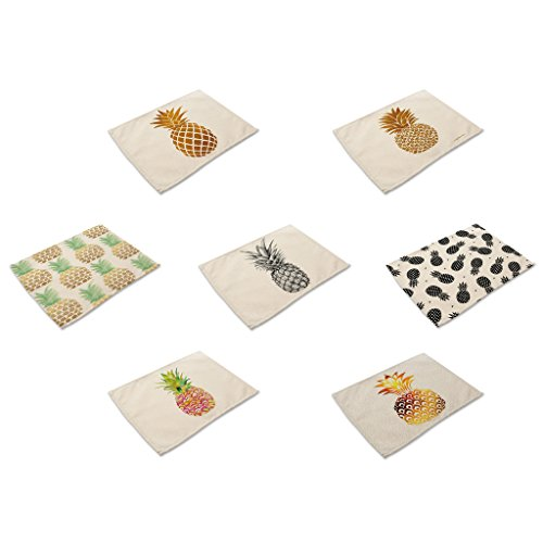 HACASO Cute Pineapple Pattern Dining Table Mats Set of 7 Cotton Linen Placemats(2) for $<!--$21.99-->