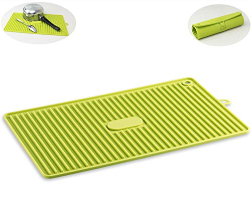 LaWei Silicone Drying Pads Dish Mat Home Goods Countertop Mat Drain pads, Suitable for Camping Kitchen Living Room Deep trough Fast Drying Non-slip Heat Resistant Durable Green.