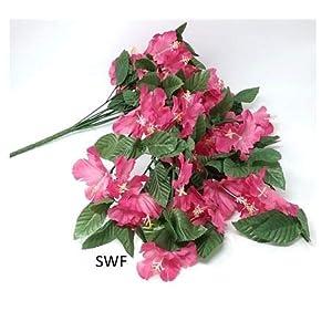 """26"""" Hibiscus Hanging Bush Artificial Silk Wedding Bridal Bouquet Flowers 9 Stems (Mauve) 23"""