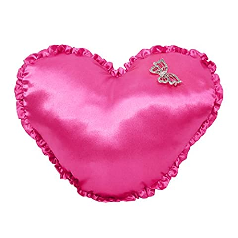 Wake Up Frankie Damsel in Damask Satin Heart Pillow with Ruffled Edge (Wake Up Frankie)