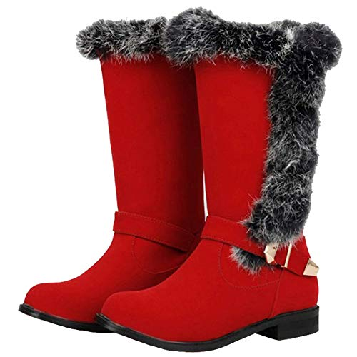 Sjjh Mid Boots calf Winter Red Women qznwvgqxa