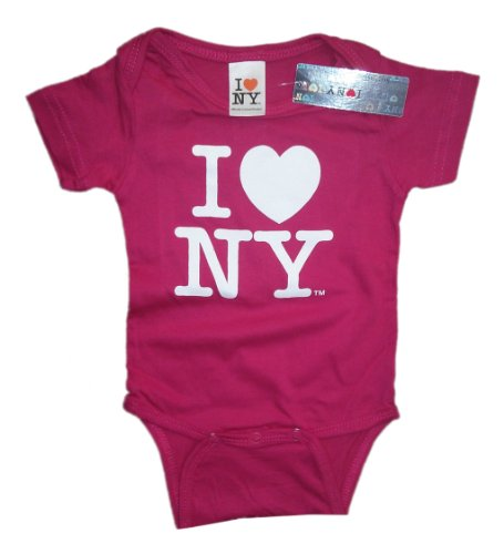 Pink Screen Printed - I Love NY New York Baby Infant Screen Printed Heart Bodysuit Hot Pink Large 1.