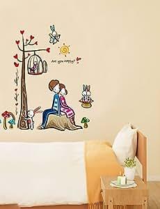 Estilo de etiquetas de la pared pegatinas de pared ZYPA bajo el árbol de los amantes del PVC pegatinas de pared