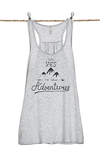 (Thread Tank Say Yes to New Adventures Women's Fashion Sleeveless Flowy Racerback Tank Top Sport Grey Large)