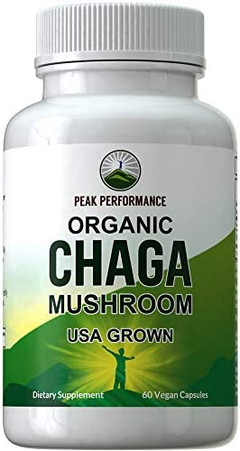 Organic Chaga Mushroom Capsules USA Grown by Peak Performance. Naturally Harvested Mushrooms Extract in Vegan Capsule. Immune, Energy Boost, Antioxidant, Beta Glucan Rich Supplement 60 Pills