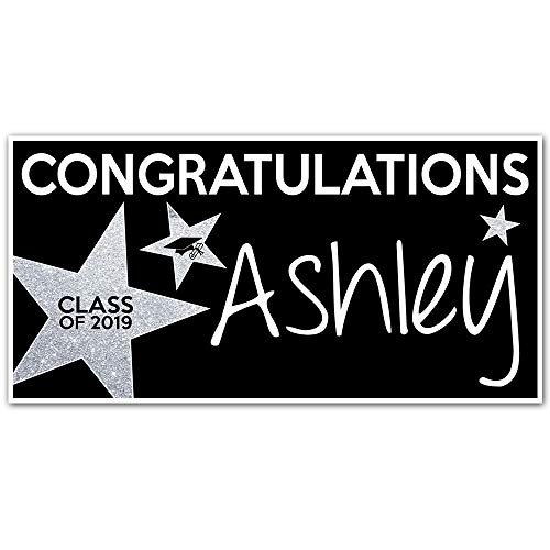 Class of 2019 Graduation Banner Personalized Party Backdrop Silver Glitter Star]()