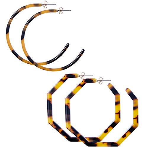 (Chalier 2 Pairs Womens Fashion Tortoise Shell Hoop Earrings Mottled Geometric Acrylic Resin Earrings)